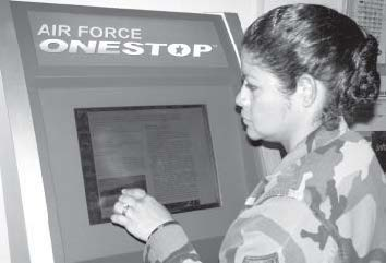 Master Sgt. Michelin Smith uses the Air Force OneStop Kiosk