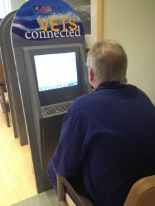 Pittsburgh VAMC: A veterans uses the Vets Connected self-service kiosk